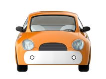 Small cute car front. View isolated on white. 3d illustration royalty free illustration