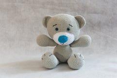 Small cute crochet bear toy. Royalty Free Stock Photography