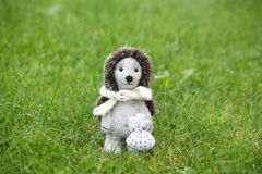 Small cute felt hedhehog standing in the grass Stock Images