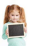 Small Cute Girl With Chalkboard. Cute three year old girl holding a small chalkboard. Isolated on white background Stock Images