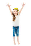 Small cute girl raise hands up. Royalty Free Stock Photo