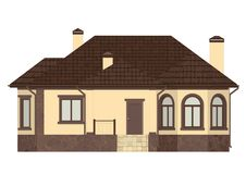A small cute one-story house. stock illustration