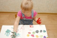 Small cute painting girl Royalty Free Stock Image