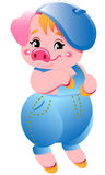 Small cute pink little pigs illustration Royalty Free Stock Image