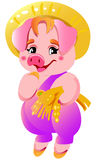 Small cute pink little pigs illustration Stock Photos