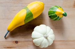 Small cute pumpkins on the table Royalty Free Stock Photography