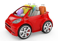Small and cute red trip car on white background Royalty Free Stock Images