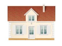 Small cute residential house. Front view of suburban building. Vector detailed illustration Royalty Free Stock Photography