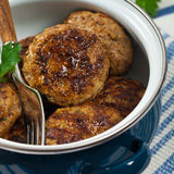 Small Cutlets or Sausage Patties. Homemade Breakfast Cutlets or Sausage Patties. Selective focus Royalty Free Stock Photos
