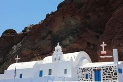 Small cycladic church near the Red beach, Santorini island, Greece. royalty free stock photography