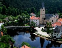 Small czech village with Vltava Stock Images