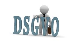 Small 3d character with DSGVO. Small business character with the letters DSGVO, 3d concept rendering Stock Images