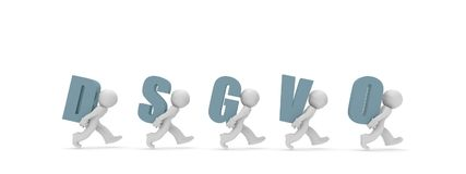 Small 3d character with DSGVO. Small business character with the letters DSGVO, 3d concept rendering Stock Image
