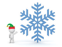 Small 3D Character with Elf Hat Showing Large Snowflake Royalty Free Stock Images