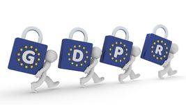 Small 3d character with GDPR padlocks. Small business character with the letters GDPR, General Data Protection Regulation, 3d concept rendering Royalty Free Stock Images