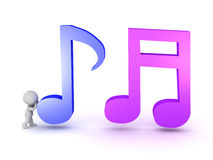 Small 3D Character and Musical Notes Stock Image
