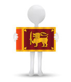 Small 3d man holding a flag of Democratic Socialist Republic of Sri Lanka Royalty Free Stock Photos