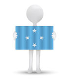Small 3d man holding a flag of Federated States of Micronesia Royalty Free Stock Images
