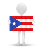 Small 3d man holding a flag of Freely Associated State of Puerto Rico Royalty Free Stock Photo