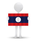 Small 3d man holding a flag of Lao People's Democratic Republic Royalty Free Stock Photo