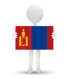 small 3d man holding a flag of Mongolia Royalty Free Stock Photo