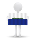 small 3d man holding a flag of Navassa Island Royalty Free Stock Photography