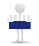 small 3d man holding a flag of Navassa Island Royalty Free Stock Photography