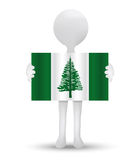 Small 3d man holding a flag of Norfolk Island. Illustration - small 3d man holding a flag of Norfolk Island Royalty Free Stock Photo