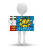 Small 3d man holding a flag of Overseas collectivity of Saint­Pierre and Miquelon Royalty Free Stock Images
