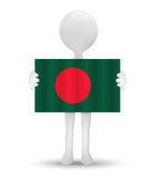 small 3d man holding a flag of People's Republic of Bangladesh Royalty Free Stock Images