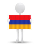 small 3d man holding a flag of Republic of Armenia Royalty Free Stock Photo
