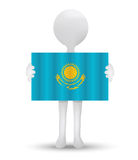 Small 3d man holding a flag of Republic of Kazakhstan Royalty Free Stock Photos
