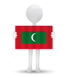 small 3d man holding a flag of Republic of Maldives stock illustration