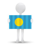 Small 3d man holding a flag of Republic of Palau Royalty Free Stock Photography