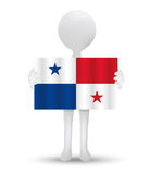 Small 3d man holding a flag of Republic of Panama Royalty Free Stock Images