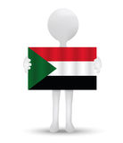 small 3d man holding a flag of Republic of the Sudan Royalty Free Stock Photos