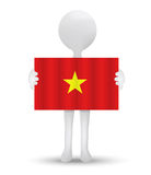 Small 3d man holding a flag of Socialist Republic of Vietnam Royalty Free Stock Photo