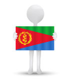 Small 3d man holding a flag of State of Eritrea Royalty Free Stock Photography