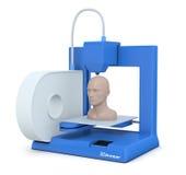 Small 3d printer. Closeup of a small 3d printer that builds a human head (3d render Stock Image