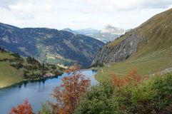 A small dam lake in the Allgaeu Alps Royalty Free Stock Photo