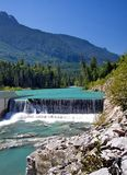 Beautiful Ashley Rive. A small dam on the mountain river Ashley against the background of a mountain landscape Royalty Free Stock Photos