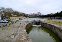 Small dam near Carcassonne railway station. Jetty near Carcassonne railway station in winter royalty free stock photos