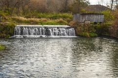 A Small Dam on the Stream Near Hyde`s Mill Stock Photos