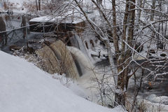 Small Dam in Winter royalty free stock images