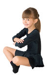 The small dancer. In a black dress Royalty Free Stock Photos
