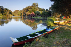 Small Danube in Slovakia with watermill. Royalty Free Stock Photos