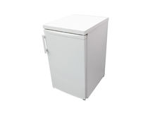 Small dark grey refrigerator. Image of the small dark grey refrigerator under the white background Royalty Free Stock Image