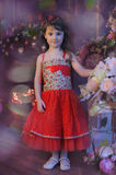 Small dark-haired girl in a red dress next to the flowers in a vase Royalty Free Stock Image