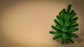 Small christmas tree. 3D render. Small decorated christmas tree background. 3D render Stock Images