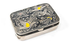 Small decorated silver box Stock Photography